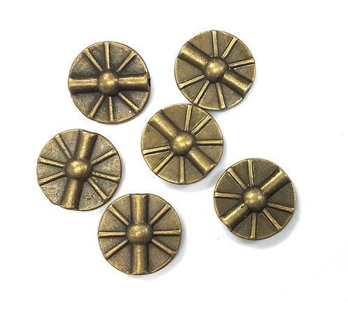 Wheel Beads, Bronze Tone - Pack of 10