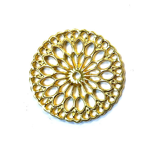 Decorative Round Connector/Link, Gold Tone