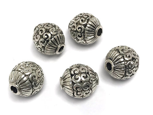 Decorative Ball Bead, Silver Tone - Pack of 3