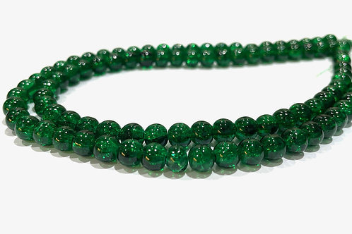 6mm crackle glass beads green