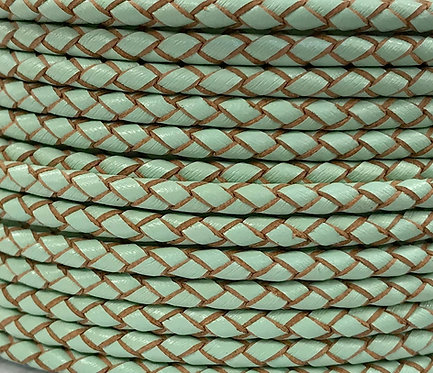 Braided Leather Cord 3mm - Mint