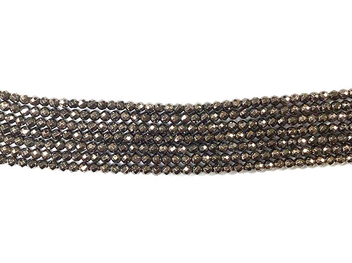 3mm Hematite Faceted Beads - Brown