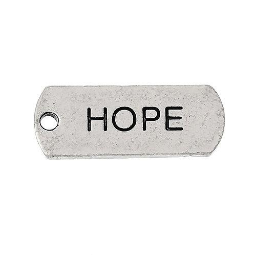 Charm Tag 'Hope' - Silver