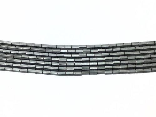 5x3mm Hematite Hexagonal Beads - Matte Slate