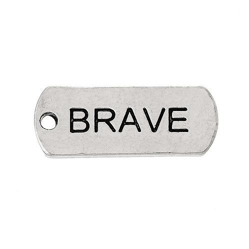 Charm Tag 'Brave' - Silver