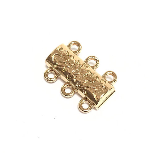 Gold Plated Magnetic Clasp - 3 Strand