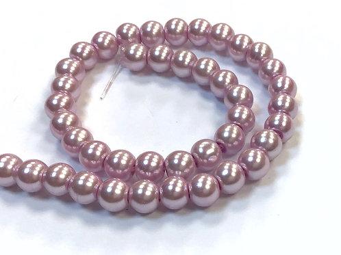 Glass Pearl Beads, Mauve - 6mm