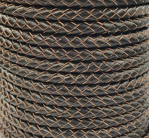 Braided Leather Cord 5mm - Brown