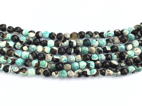 6mm Agate Beads - Turquoise/Black