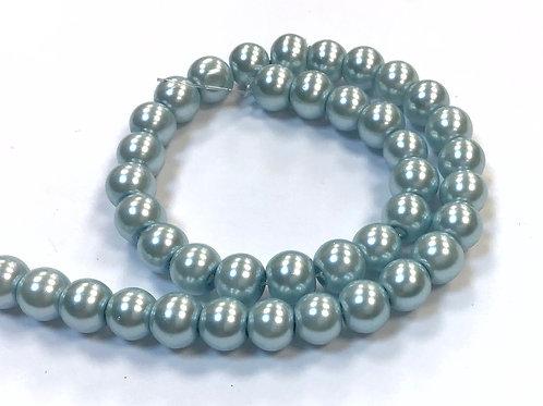 Glass Pearl Beads, Sky Blue - 6mm