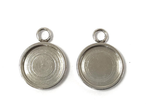 Stainless Steel Pendant/Charm Setting - Fits 10mm