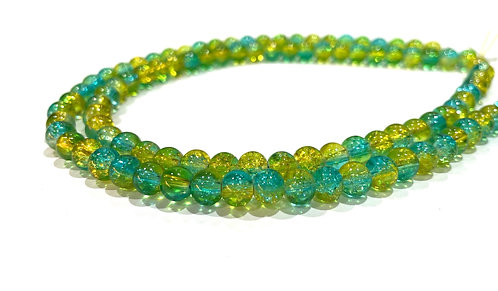 6mm crackle glass beads turquoise and yellow