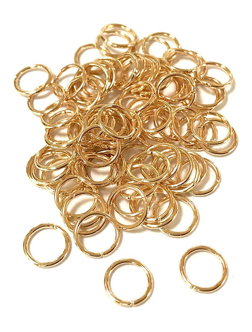 8mm Jump Rings - Light Gold Plated