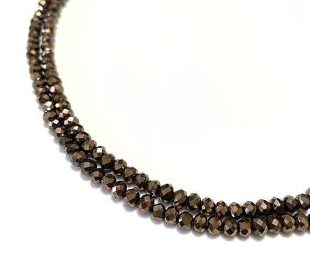 crystal glass bronze rondelle beads 4mm