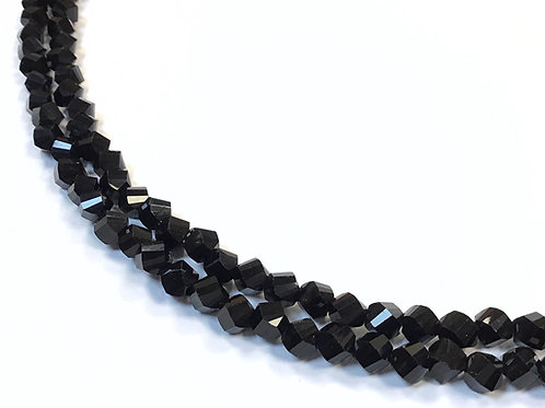 faceted twist crystal glass beads black 6mm