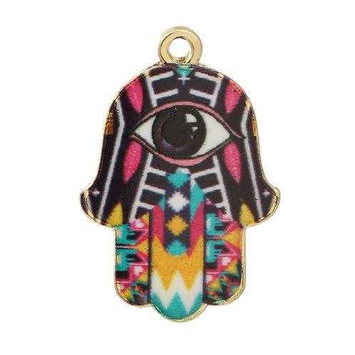 Patterned Hamsa Hand - Light Gold