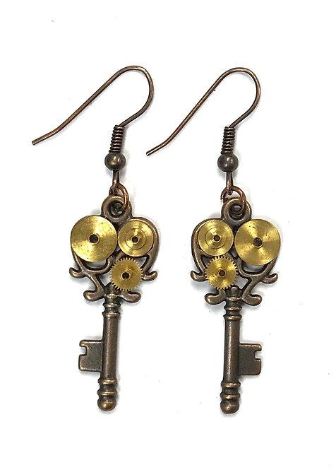 Copper Key Earrings
