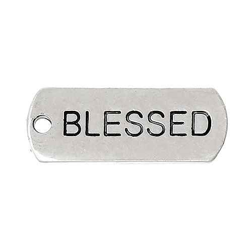 Charm Tag 'Blessed' - Silver