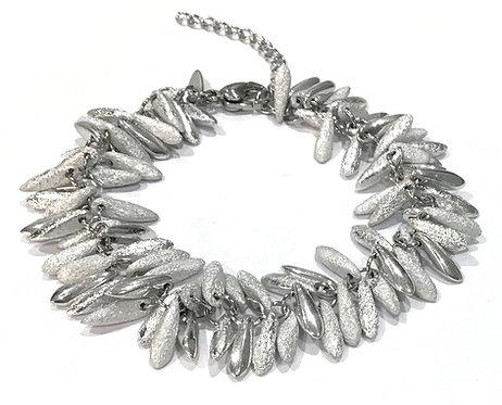 handmade silver feathered bracelet