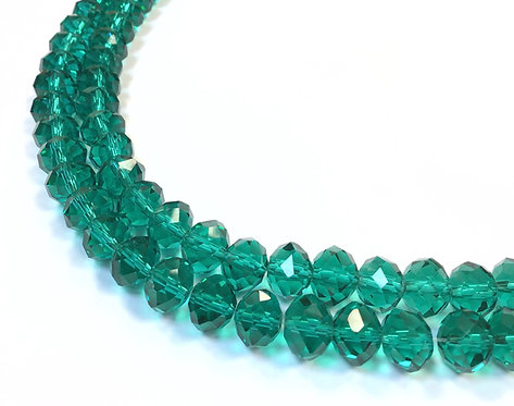 green crystal glass beads