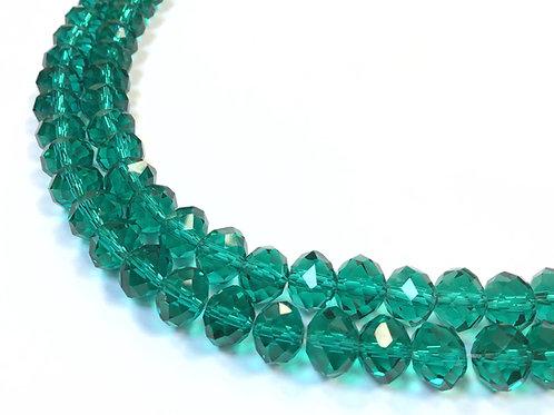 green crystal glass beads