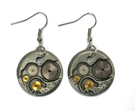 Silver Mechanism Earrings