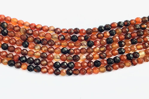 4mm Agate Beads - Orange/Black