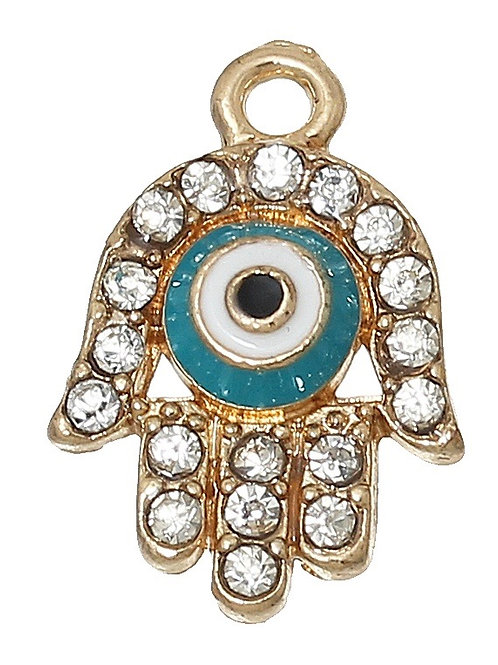 Hamsa Hand with Rhinestone - Light Gold