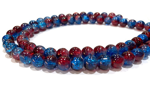 blue/red crackle glass beads 8mm