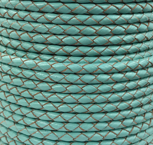 Braided Leather Cord 4mm - Turquoise