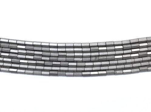 5x3mm Hematite Hexagonal Beads - Matte Grey