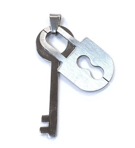 Stainless Steel Lock & Key Pendant Charm