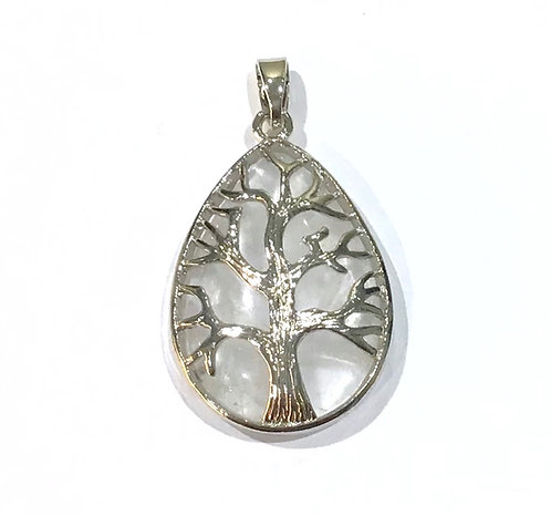 clear quartz tree pendant