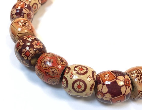 wood patterned barrel beads