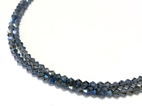 crystal glass blue bicone beads 4mm