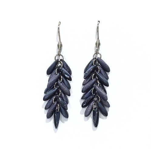 handmade blue feather earrings