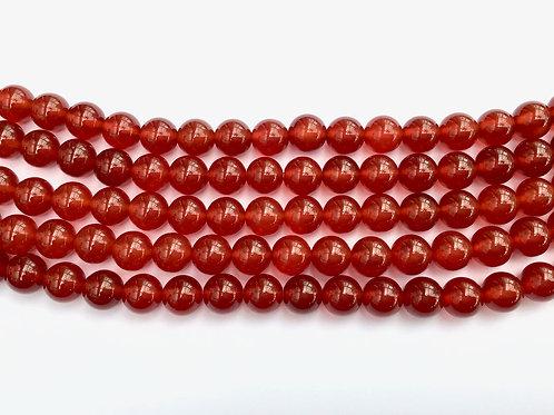 8mm Agate Beads - Burnt Orange