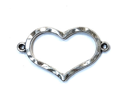 Heart Connector, Silver Tone