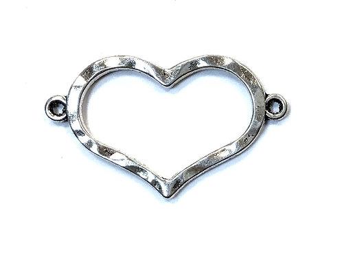 Heart Connector, Silver Tone