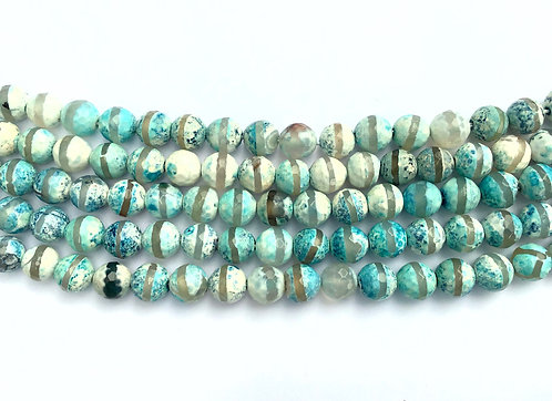 8mm Agate Beads - Blue Stripe