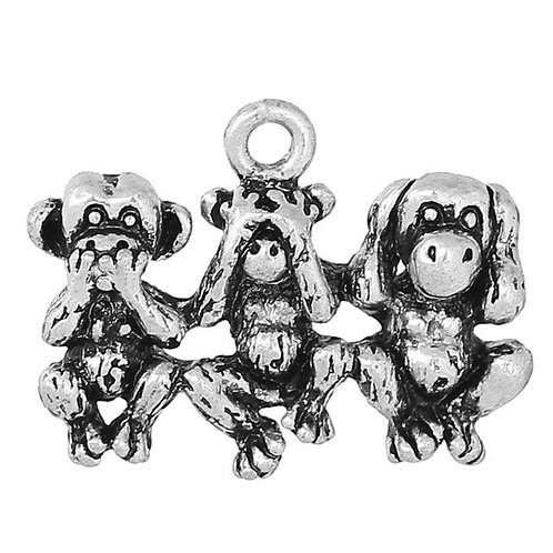 Three Monkeys - Silver