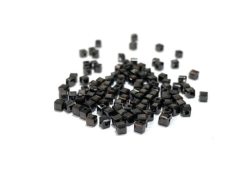 crystal glass black cube beads 2.5mm