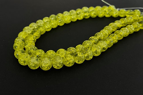 yellow crackle glass beads 8mm
