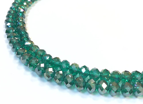 8mm green crystal glass rondelle beads