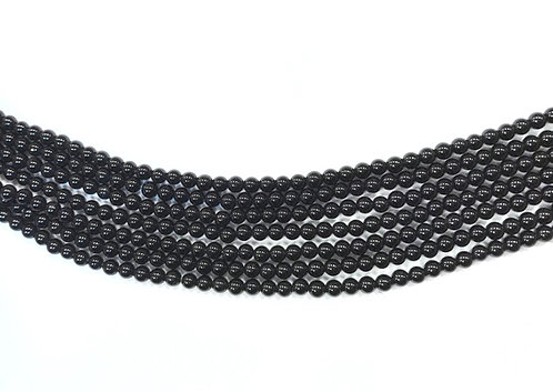 4mm Agate Beads - Black