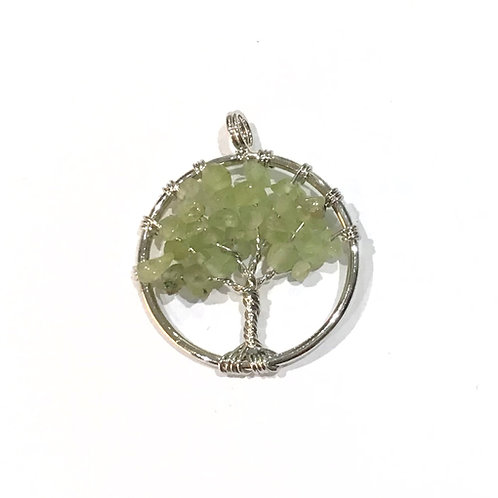 olive quartz wire tree pendant
