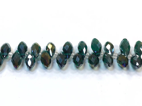 crystal glass teardrop beads - teal