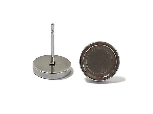 Stainless Steel Ear Stud Setting - Fits 8mm