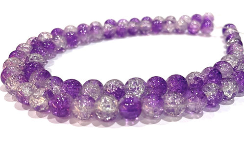 purple/clear crackle glass beads 8mm