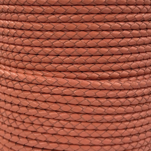 Braided Leather Cord 3mm - Peach